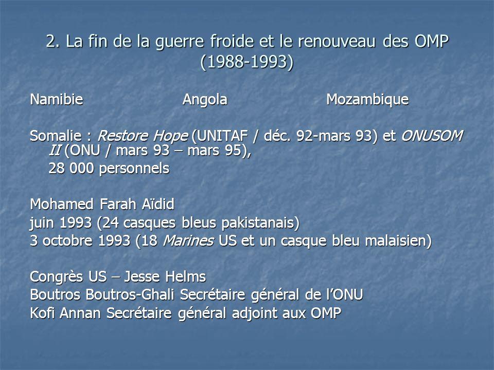 2. La fin de la guerre froide et le renouveau des OMP (1988-1993) Namibie Angola Mozambique Somalie : Restore Hope (UNITAF / déc. 92-mars 93) et ONUSO