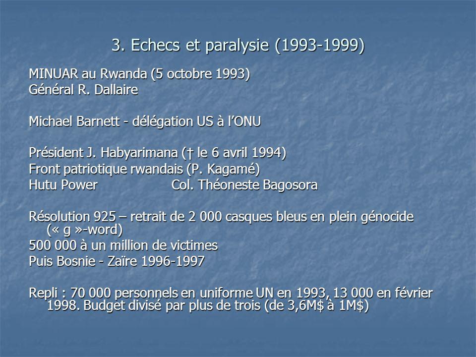 3. Echecs et paralysie (1993-1999) MINUAR au Rwanda (5 octobre 1993) Général R. Dallaire Michael Barnett - délégation US à lONU Président J. Habyarima