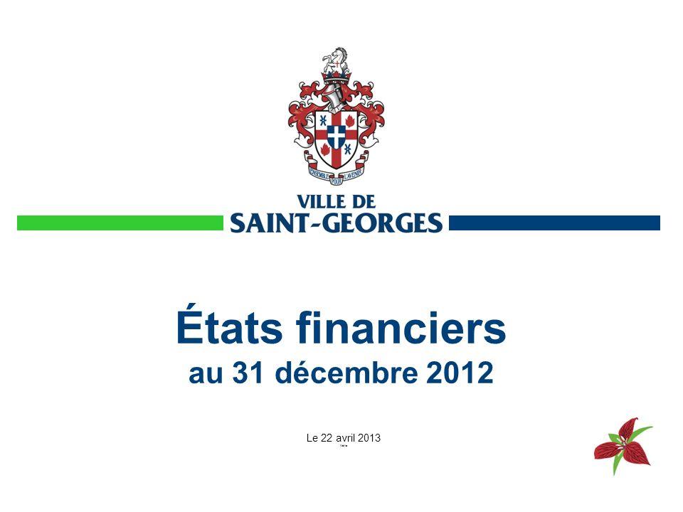 États financiers au 31 décembre 2012 Le 22 avril 2013 Mairie
