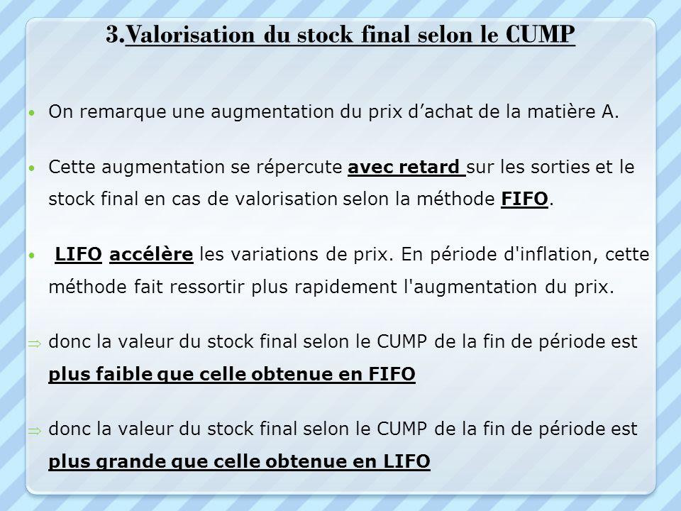 3.Valorisation du stock final selon le CUMP On remarque une augmentation du prix dachat de la matière A. Cette augmentation se répercute avec retard s