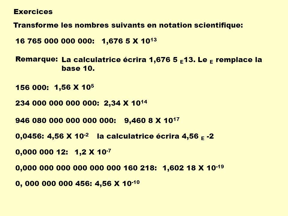 Exercices Transforme les nombres suivants en notation scientifique: 1,676 5 X 10 13 156 000: 234 000 000 000 000: 946 080 000 000 000 000: 0,0456: 0,0