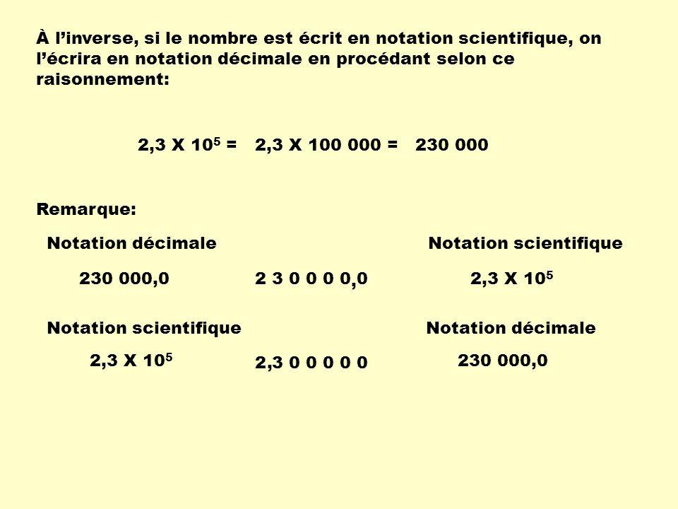 À linverse, si le nombre est écrit en notation scientifique, on lécrira en notation décimale en procédant selon ce raisonnement: 2,3 X 10 5 =2,3 X 100