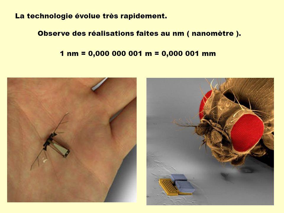 La technologie évolue très rapidement. Observe des réalisations faites au nm ( nanomètre ). 1 nm = 0,000 000 001 m = 0,000 001 mm