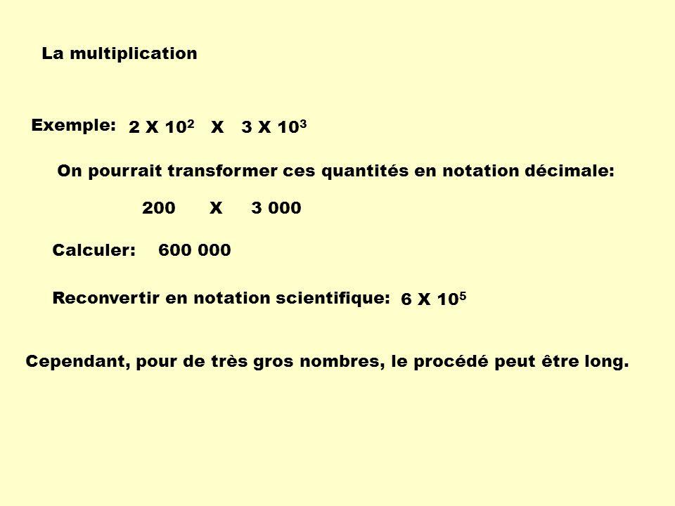La multiplication Exemple: 200 X 3 000 6 X 10 5 2 X 10 2 X 3 X 10 3 On pourrait transformer ces quantités en notation décimale: Calculer: Reconvertir