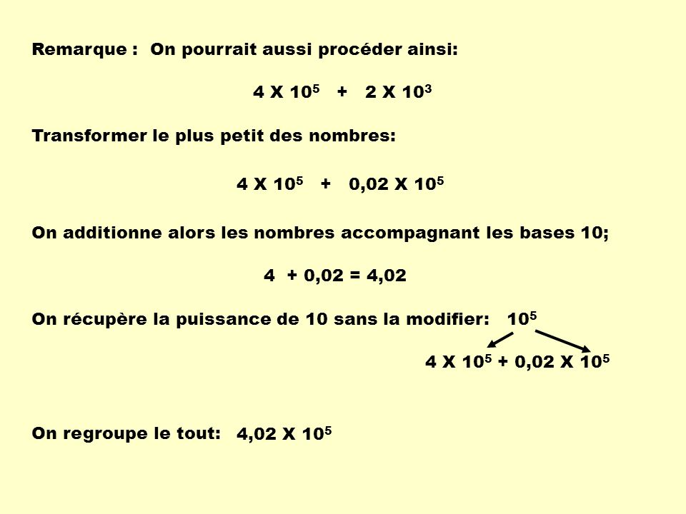 Remarque :On pourrait aussi procéder ainsi: 4 X 10 5 + 2 X 10 3 4 X 10 5 + 0,02 X 10 5 Transformer le plus petit des nombres: On additionne alors les