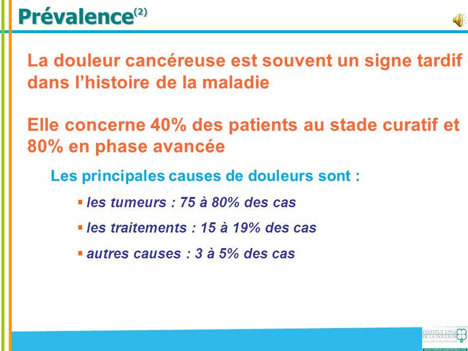 Prévalence (2) La douleur cancéreuse est souvent un signe tardif dans lhistoire de la maladie Elle concerne 40% des patients au stade curatif et 80% en phase avancée Les principales causes de douleurs sont : les tumeurs : 75 à 80% des cas les traitements : 15 à 19% des cas autres causes : 3 à 5% des cas Il existe une classification des douleurs cancéreuses en 5 points créée par Foley (1993)