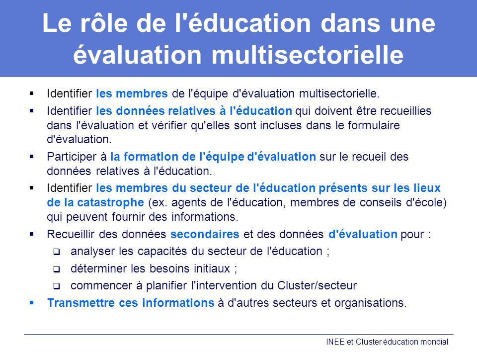 Le rôle de l'éducation dans une évaluation multisectorielle Identifier les membres de l'équipe d'évaluation multisectorielle. Identifier les données r