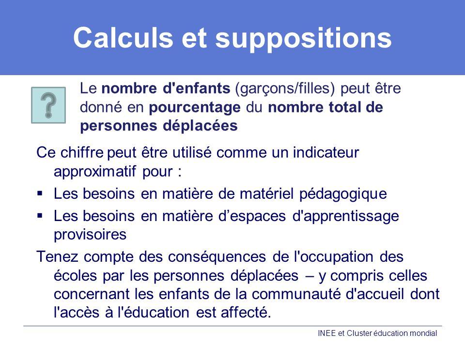 Calculs et suppositions Ce chiffre peut être utilisé comme un indicateur approximatif pour : Les besoins en matière de matériel pédagogique Les besoin