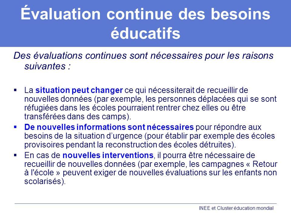 Évaluation continue des besoins éducatifs Des évaluations continues sont nécessaires pour les raisons suivantes : La situation peut changer ce qui néc