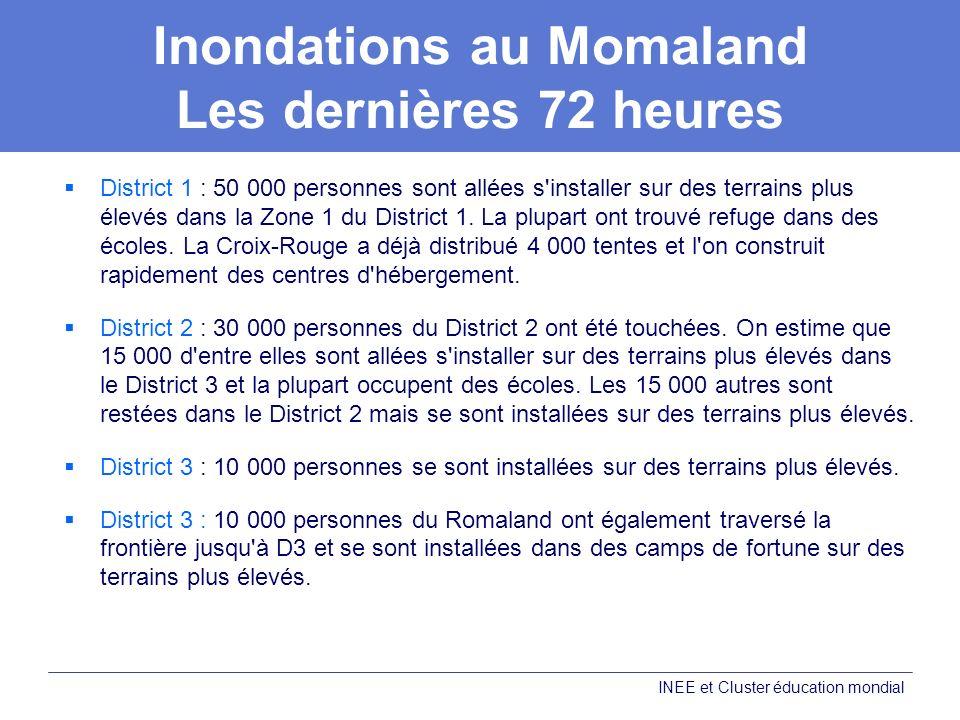 Inondations au Momaland Les dernières 72 heures District 1 : 50 000 personnes sont allées s'installer sur des terrains plus élevés dans la Zone 1 du D