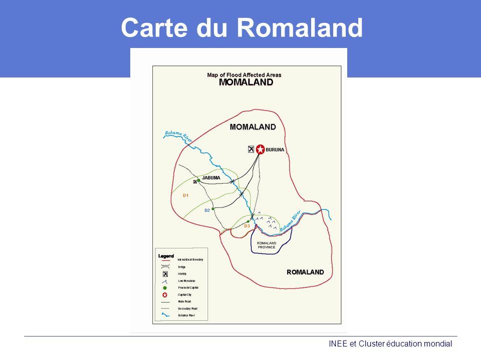 Carte du Romaland INEE et Cluster éducation mondial
