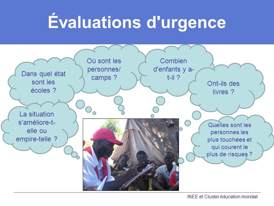 Évaluations d'urgence Où sont les personnes/ camps ? Dans quel état sont les écoles ? La situation s'améliore-t- elle ou empire-telle ? Combien d'enfa