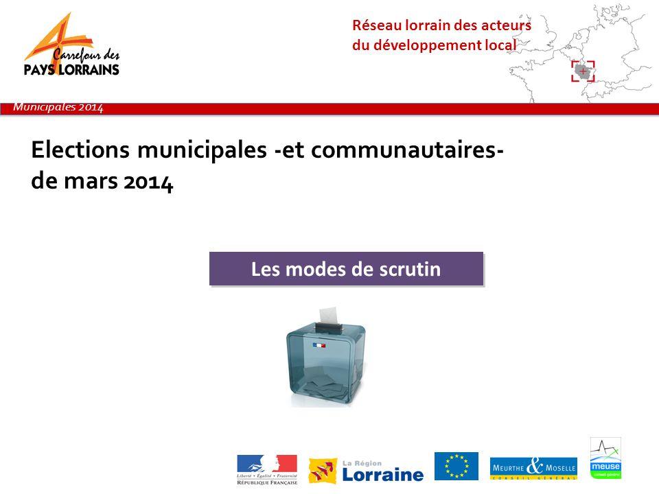 Réseau lorrain des acteurs du développement local Elections municipales -et communautaires- de mars 2014 Municipales 2014 Les modes de scrutin