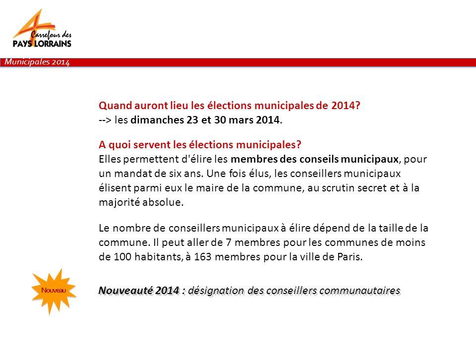 Quand auront lieu les élections municipales de 2014? --> les dimanches 23 et 30 mars 2014. A quoi servent les élections municipales? Elles permettent