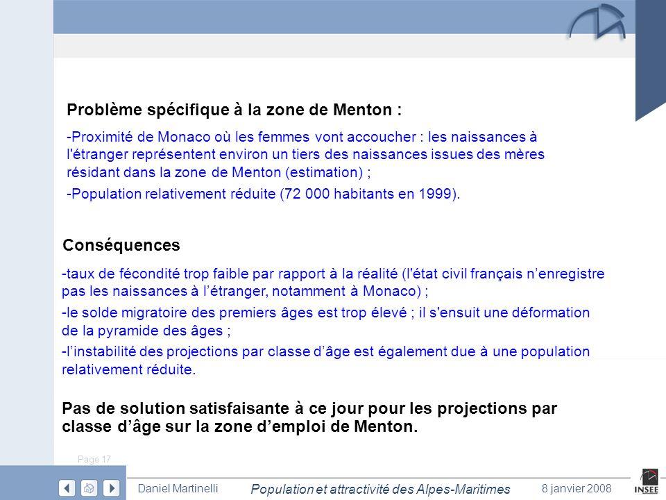 Page 17 Population et attractivité des Alpes-Maritimes Daniel Martinelli8 janvier 2008 Problème spécifique à la zone de Menton : -taux de fécondité tr