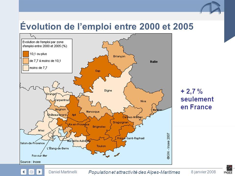 Page 24 Population et attractivité des Alpes-Maritimes Daniel Martinelli8 janvier 2008 Évolution de lemploi entre 2000 et 2005 + 2,7 % seulement en Fr