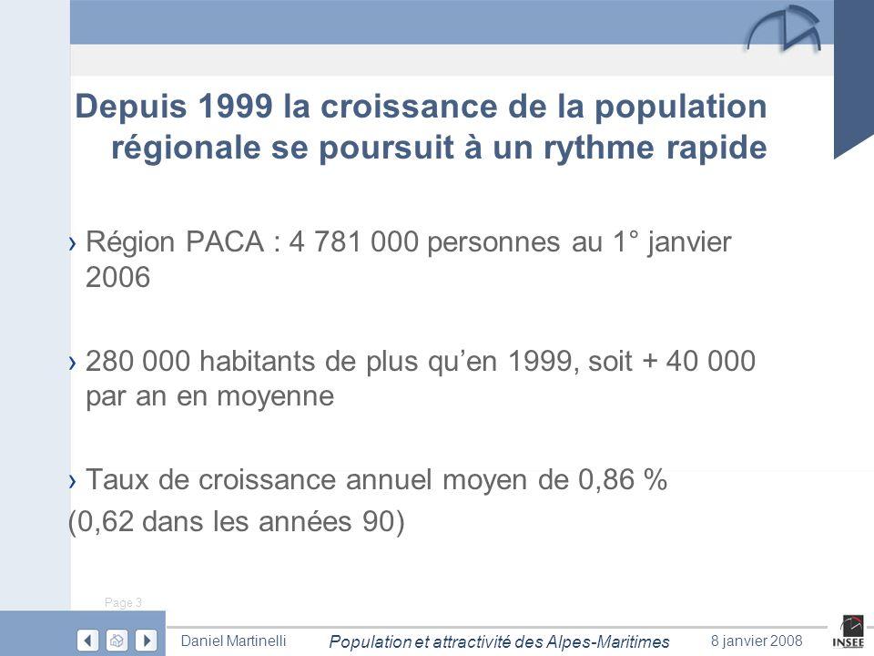Page 3 Population et attractivité des Alpes-Maritimes Daniel Martinelli8 janvier 2008 Région PACA : 4 781 000 personnes au 1° janvier 2006 280 000 hab