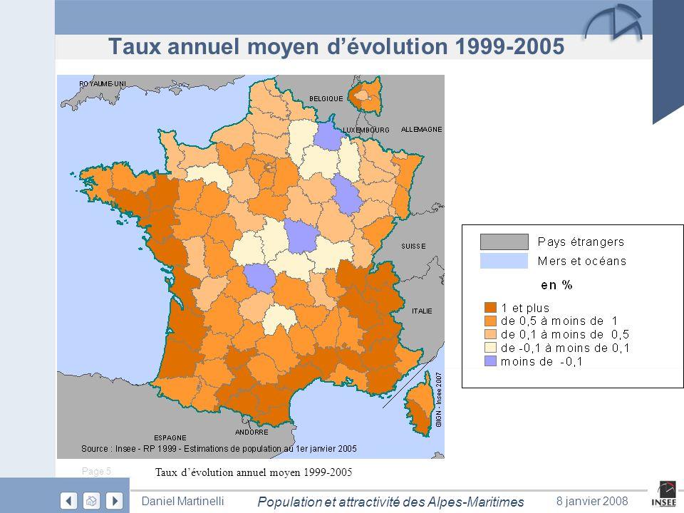 Page 5 Population et attractivité des Alpes-Maritimes Daniel Martinelli8 janvier 2008 Taux annuel moyen dévolution 1999-2005 Taux dévolution annuel mo