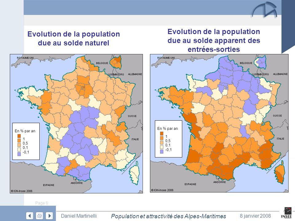 Page 6 Population et attractivité des Alpes-Maritimes Daniel Martinelli8 janvier 2008 Evolution de la population due au solde naturel 1 0,5 0,1 -0,1 E