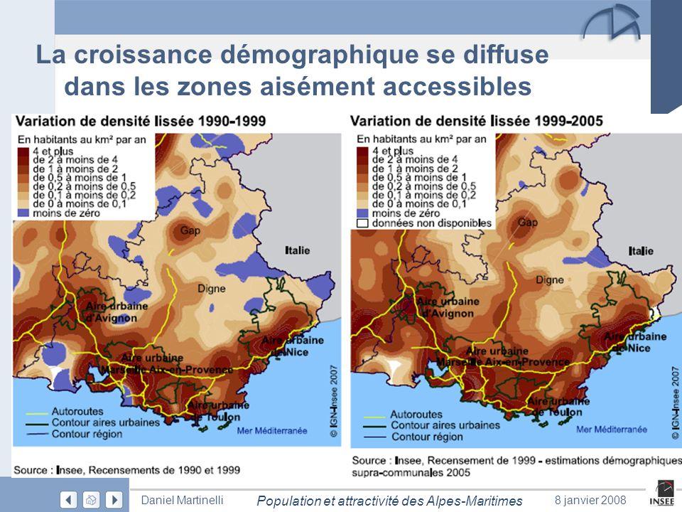 Page 9 Population et attractivité des Alpes-Maritimes Daniel Martinelli8 janvier 2008 La croissance démographique se diffuse dans les zones aisément a