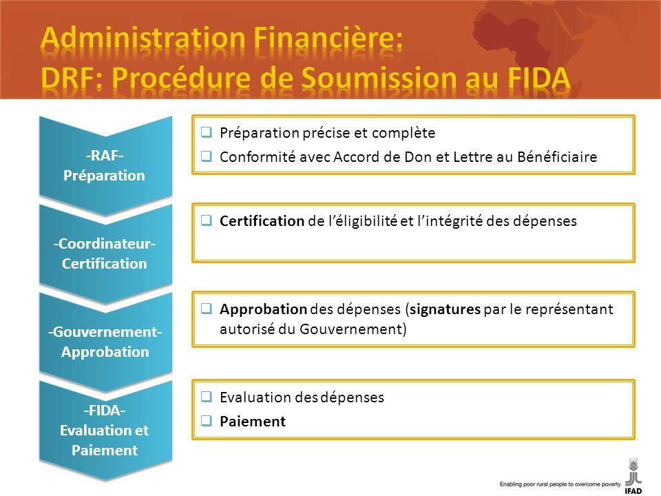 -RAF- Préparation -RAF- Préparation -Coordinateur- Certification -Coordinateur- Certification -Gouvernement- Approbation -Gouvernement- Approbation -F