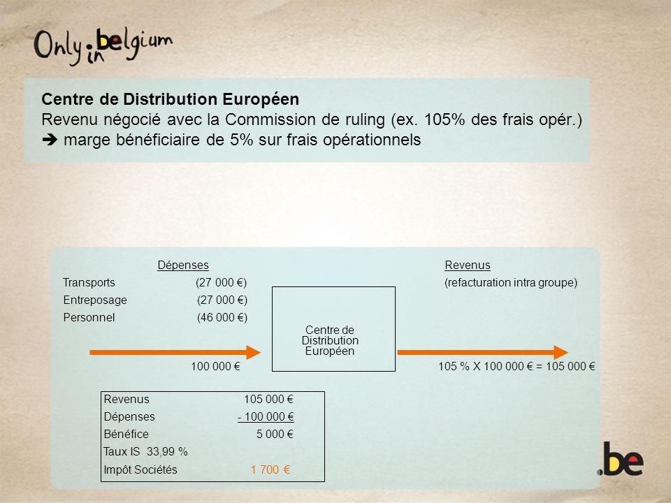 Centre de Distribution Européen Revenu négocié avec la Commission de ruling (ex. 105% des frais opér.) marge bénéficiaire de 5% sur frais opérationnel