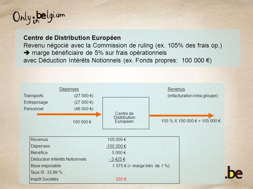 Centre de Distribution Européen Revenu négocié avec la Commission de ruling (ex. 105% des frais op.) marge bénéficiaire de 5% sur frais opérationnels