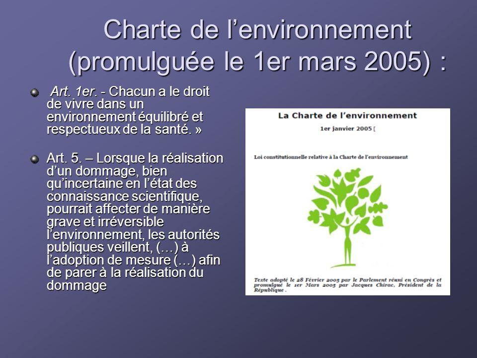 Charte de lenvironnement (promulguée le 1er mars 2005) : Art. 1er. - Chacun a le droit de vivre dans un environnement équilibré et respectueux de la s