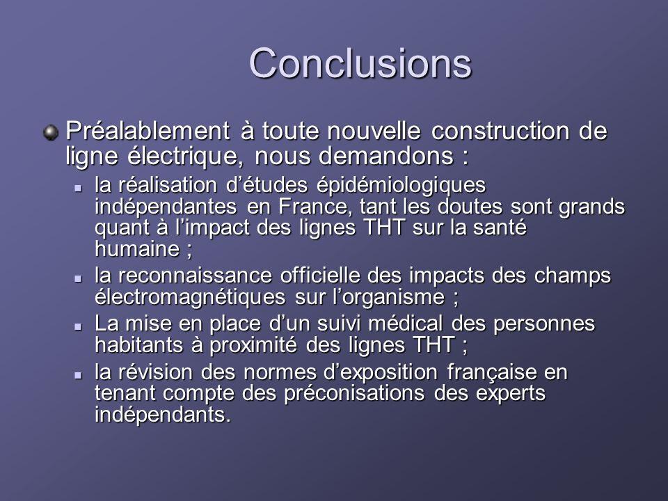 Conclusions Préalablement à toute nouvelle construction de ligne électrique, nous demandons : la réalisation détudes épidémiologiques indépendantes en