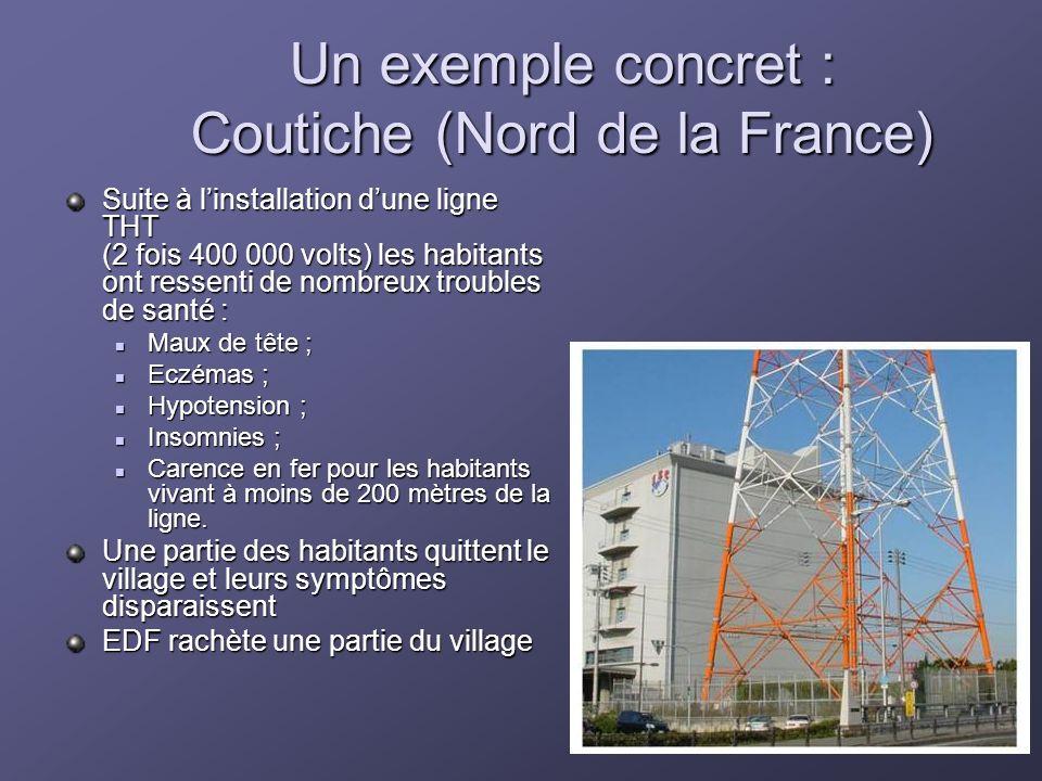 Un exemple concret : Coutiche (Nord de la France) Suite à linstallation dune ligne THT (2 fois 400 000 volts) les habitants ont ressenti de nombreux t