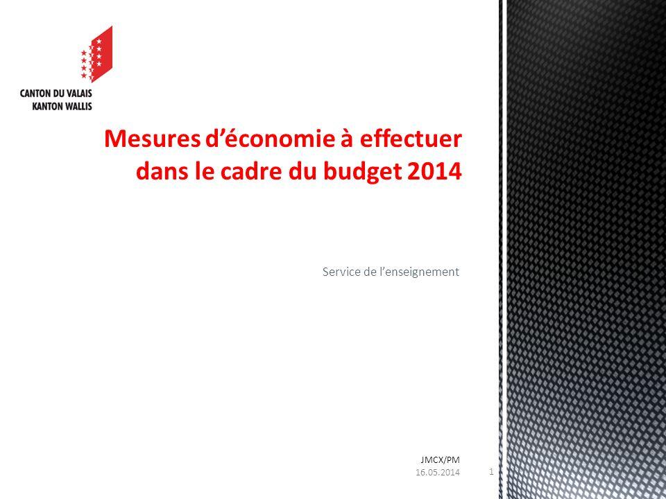 Service de lenseignement Mesures déconomie à effectuer dans le cadre du budget 2014 16.05.2014 JMCX/PM 1