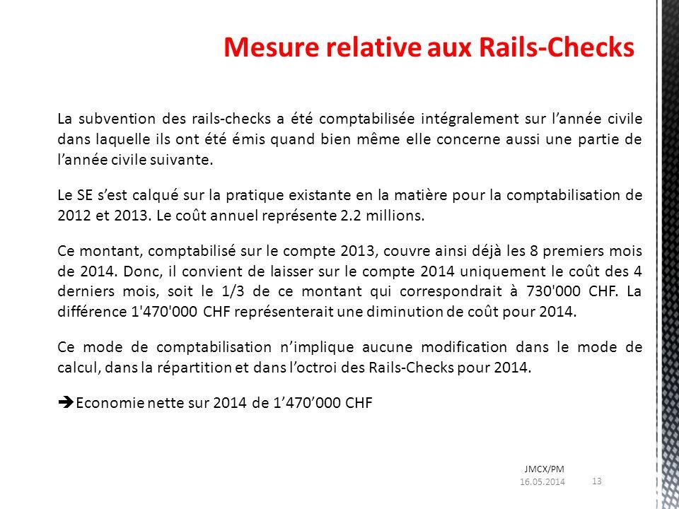 La subvention des rails-checks a été comptabilisée intégralement sur lannée civile dans laquelle ils ont été émis quand bien même elle concerne aussi