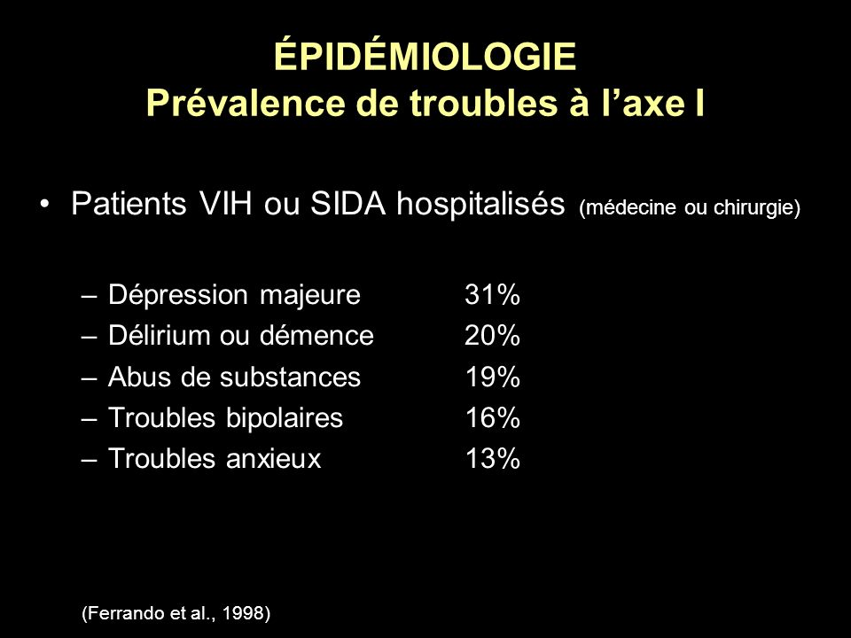 ÉPIDÉMIOLOGIE Prévalence de troubles à laxe I Patients VIH ou SIDA hospitalisés (médecine ou chirurgie) –Dépression majeure31% –Délirium ou démence20%