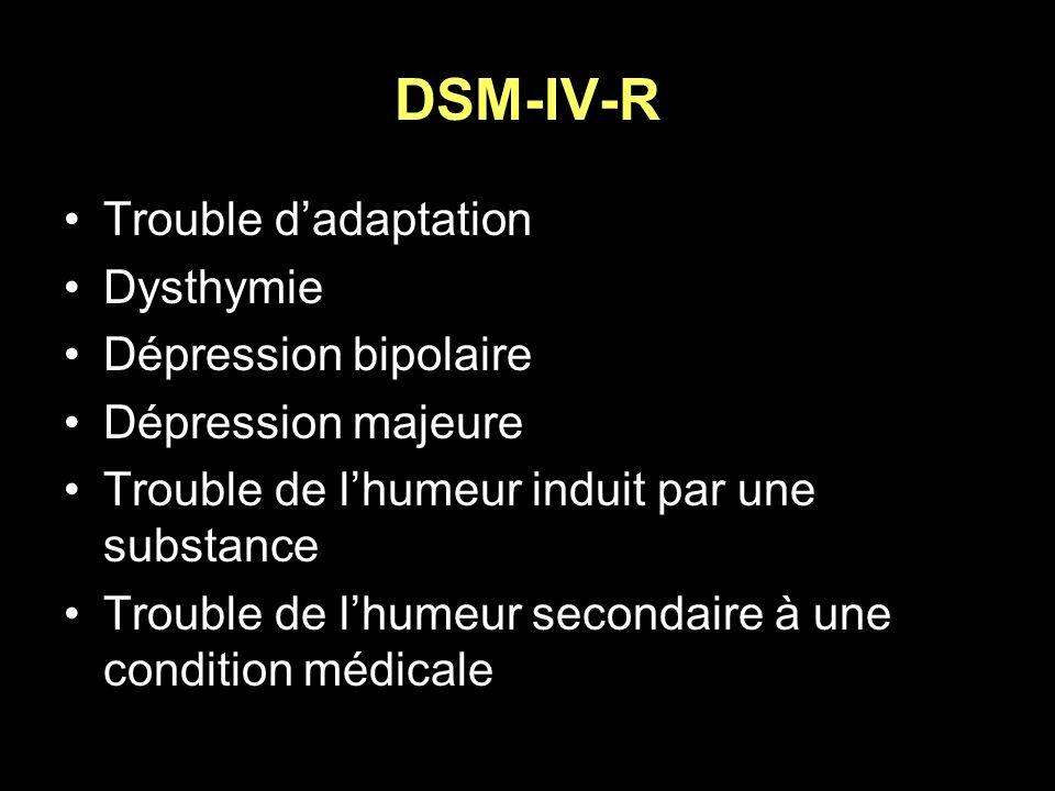 DSM-IV-R Trouble dadaptation Dysthymie Dépression bipolaire Dépression majeure Trouble de lhumeur induit par une substance Trouble de lhumeur secondai