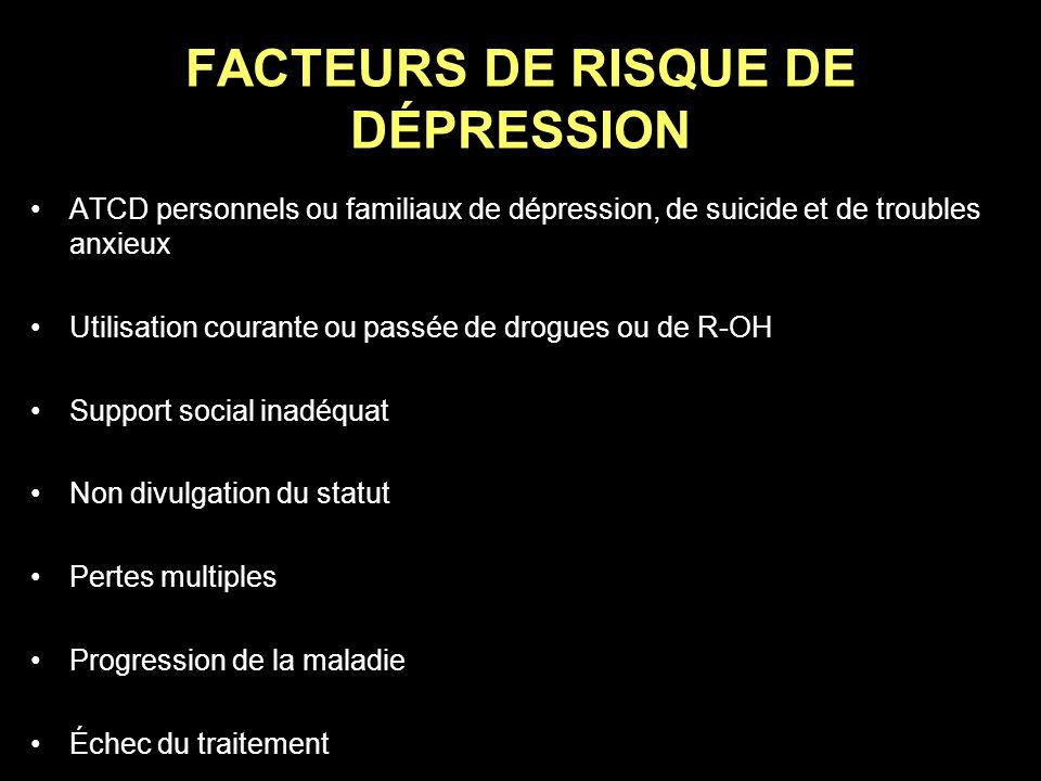 FACTEURS DE RISQUE DE DÉPRESSION ATCD personnels ou familiaux de dépression, de suicide et de troubles anxieux Utilisation courante ou passée de drogu