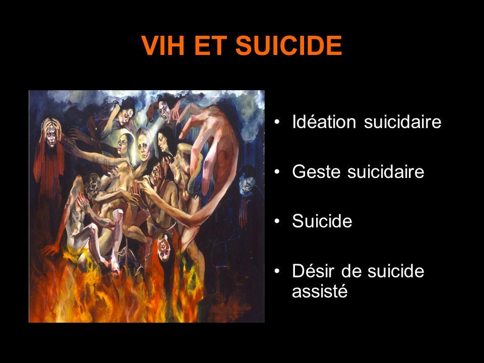 VIH ET SUICIDE Idéation suicidaire Geste suicidaire Suicide Désir de suicide assisté