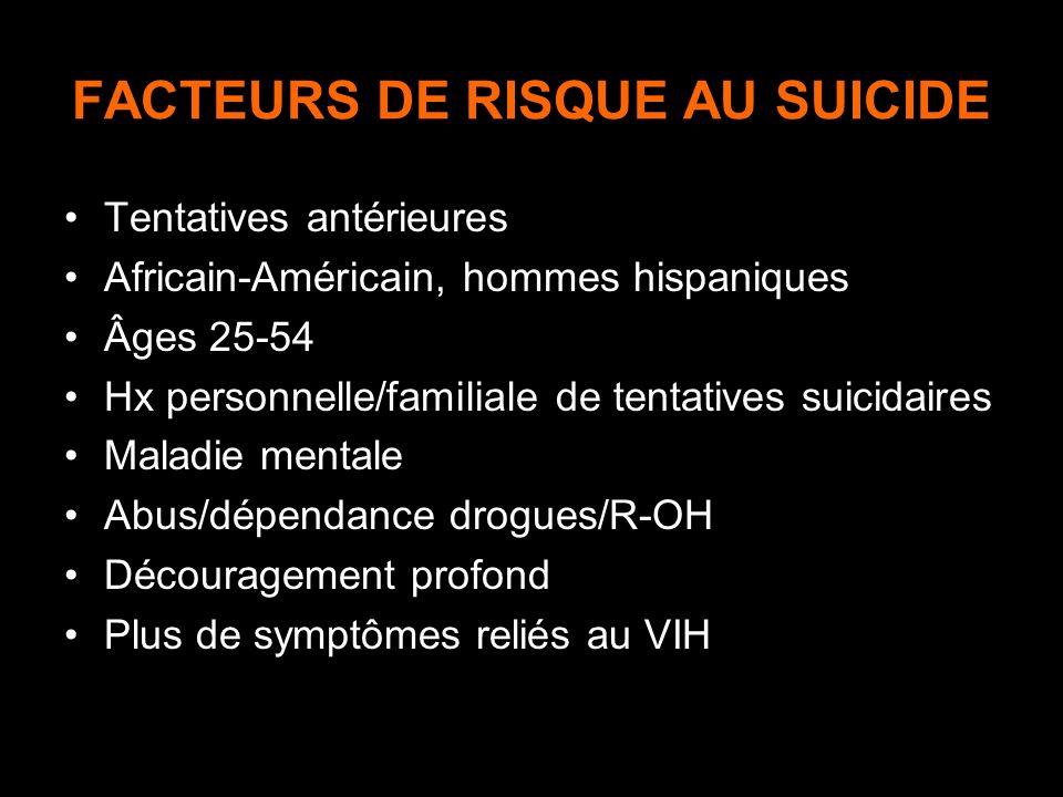 FACTEURS DE RISQUE AU SUICIDE Tentatives antérieures Africain-Américain, hommes hispaniques Âges 25-54 Hx personnelle/familiale de tentatives suicidai