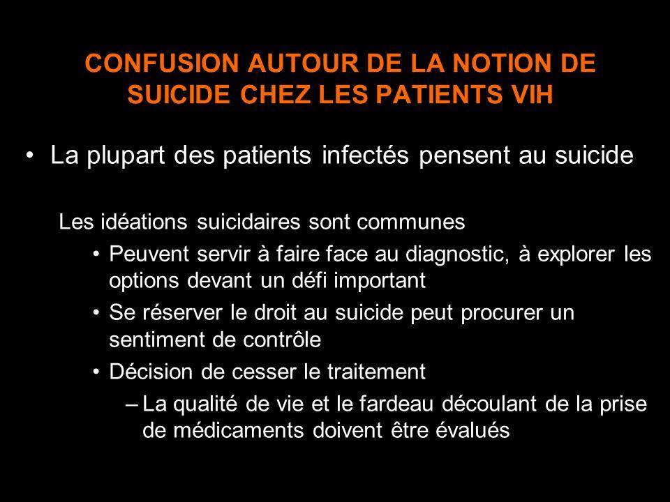 CONFUSION AUTOUR DE LA NOTION DE SUICIDE CHEZ LES PATIENTS VIH La plupart des patients infectés pensent au suicide Les idéations suicidaires sont comm