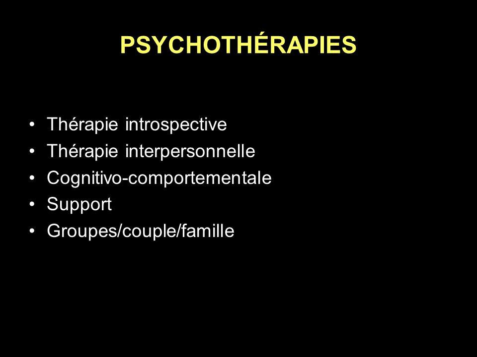 PSYCHOTHÉRAPIES Thérapie introspective Thérapie interpersonnelle Cognitivo-comportementale Support Groupes/couple/famille
