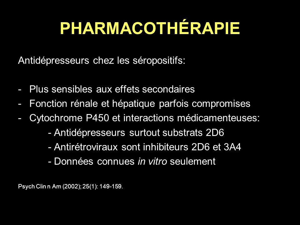 PHARMACOTHÉRAPIE Antidépresseurs chez les séropositifs: -Plus sensibles aux effets secondaires -Fonction rénale et hépatique parfois compromises -Cyto
