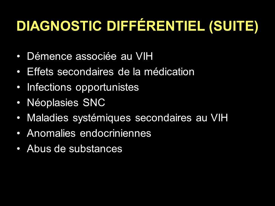 DIAGNOSTIC DIFFÉRENTIEL (SUITE) Démence associée au VIH Effets secondaires de la médication Infections opportunistes Néoplasies SNC Maladies systémiqu