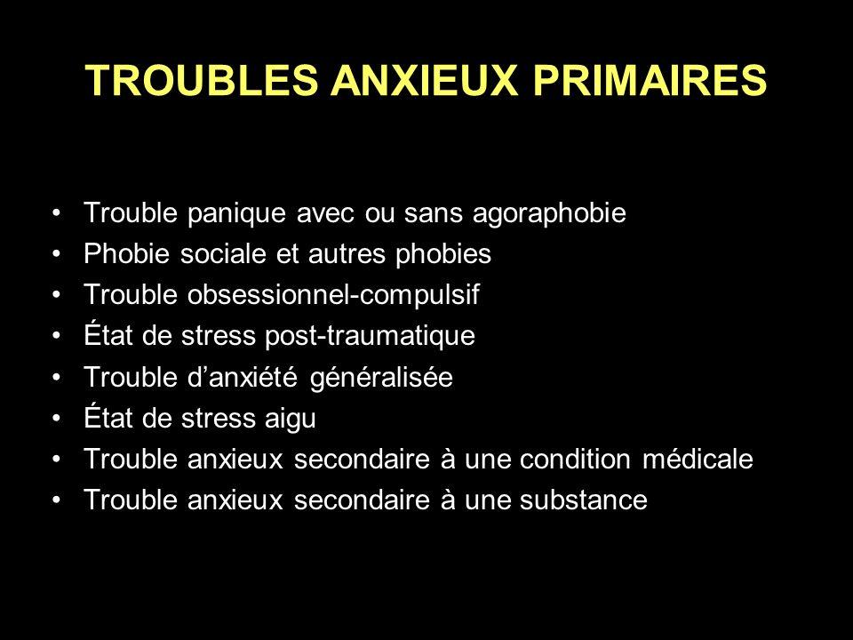 TROUBLES ANXIEUX PRIMAIRES Trouble panique avec ou sans agoraphobie Phobie sociale et autres phobies Trouble obsessionnel-compulsif État de stress pos