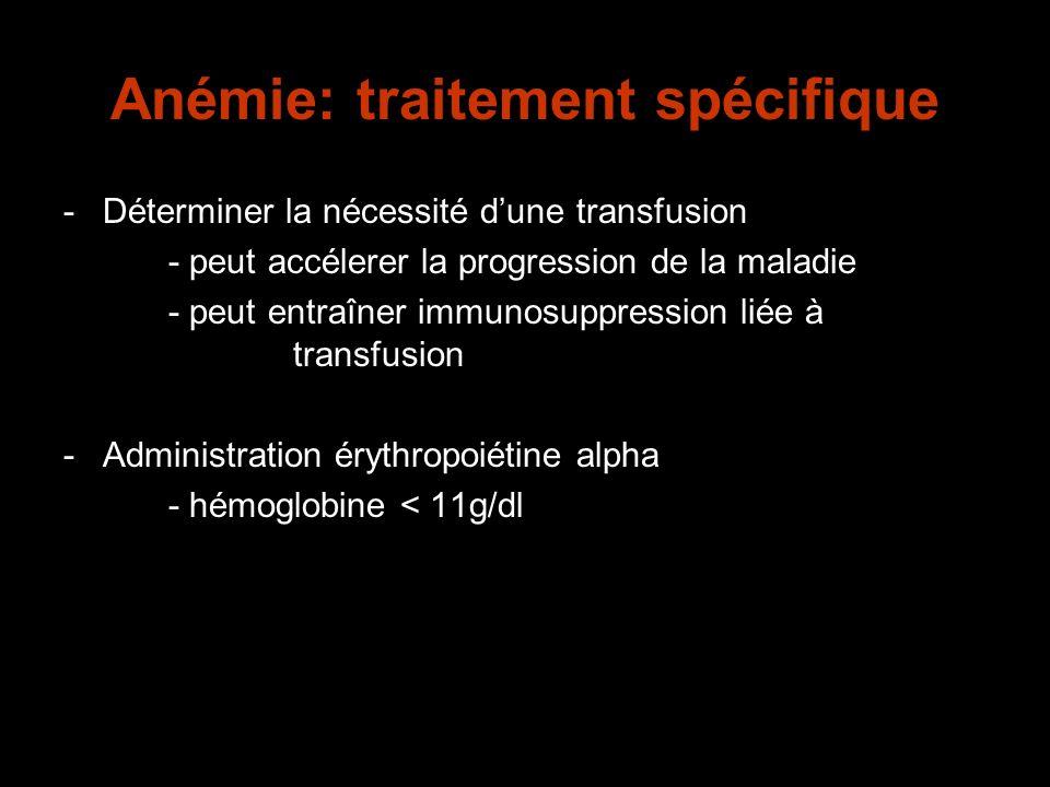 Anémie: traitement spécifique -Déterminer la nécessité dune transfusion - peut accélerer la progression de la maladie - peut entraîner immunosuppressi