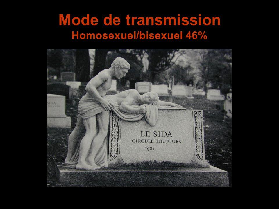 Mode de transmission Homosexuel/bisexuel 46%