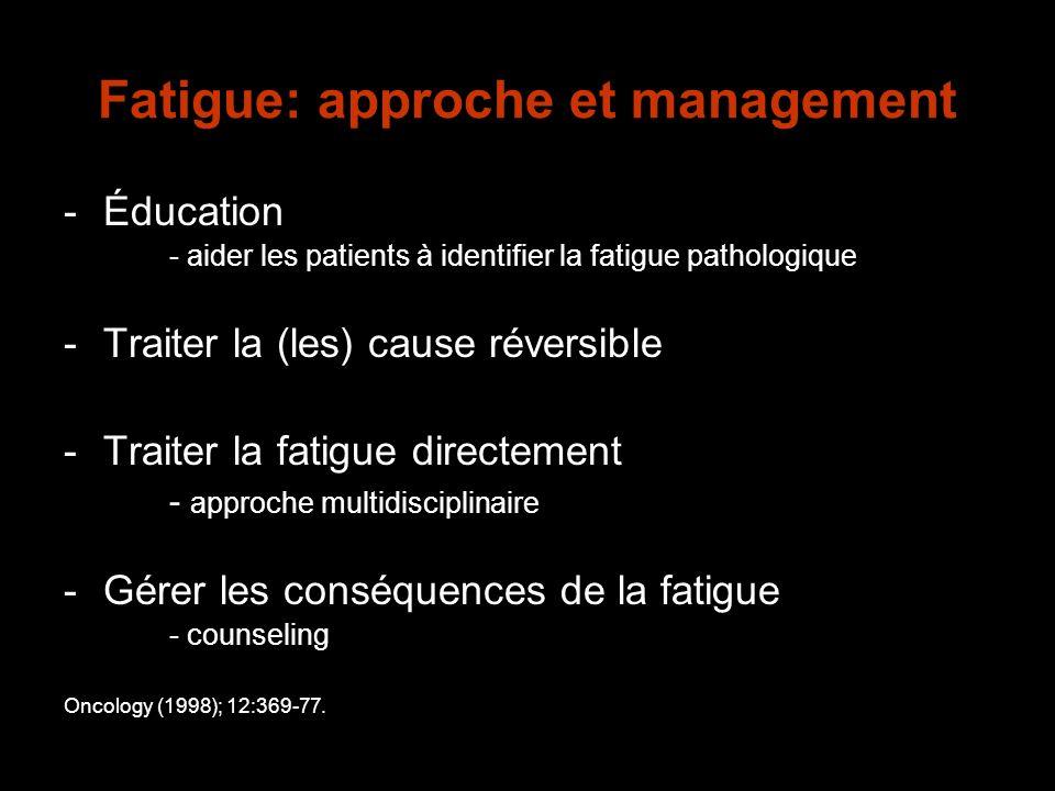 Fatigue: approche et management -Éducation - aider les patients à identifier la fatigue pathologique -Traiter la (les) cause réversible -Traiter la fa