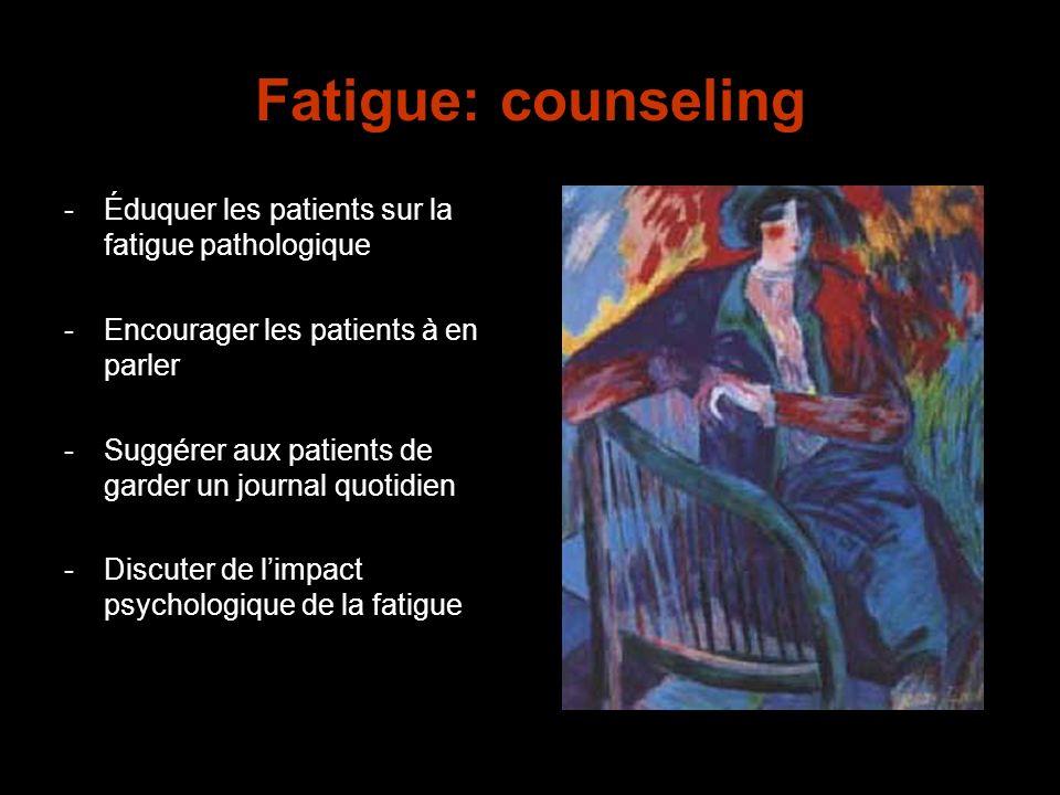 Fatigue: counseling -Éduquer les patients sur la fatigue pathologique -Encourager les patients à en parler -Suggérer aux patients de garder un journal
