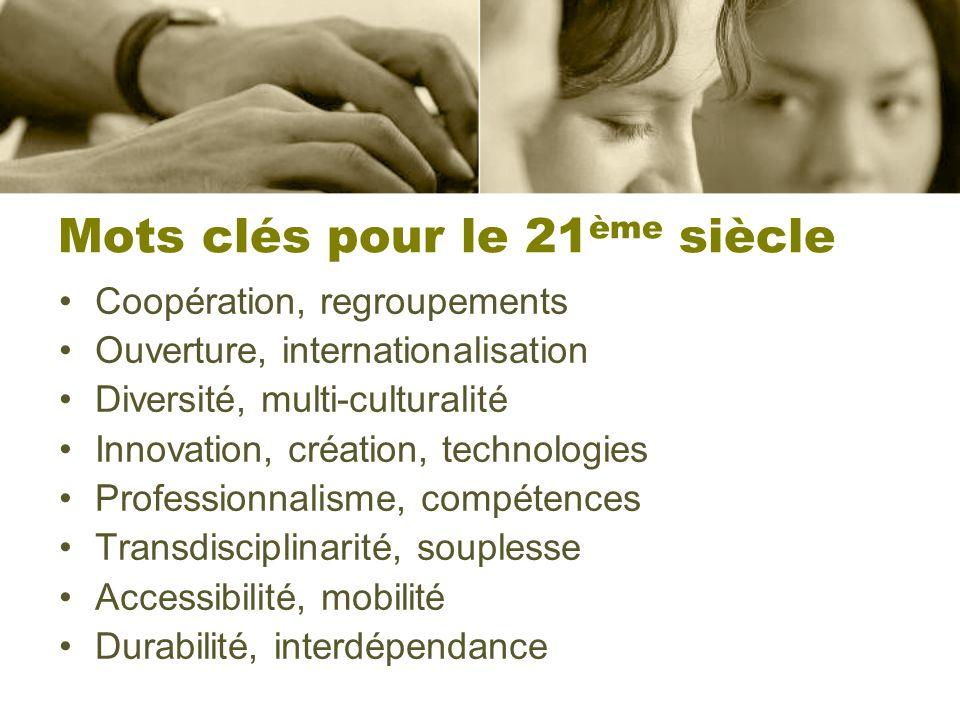 Mots clés pour le 21 ème siècle Coopération, regroupements Ouverture, internationalisation Diversité, multi-culturalité Innovation, création, technolo