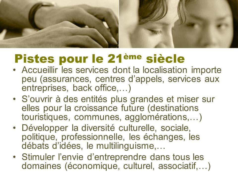 Pistes pour le 21 ème siècle Accueillir les services dont la localisation importe peu (assurances, centres dappels, services aux entreprises, back off