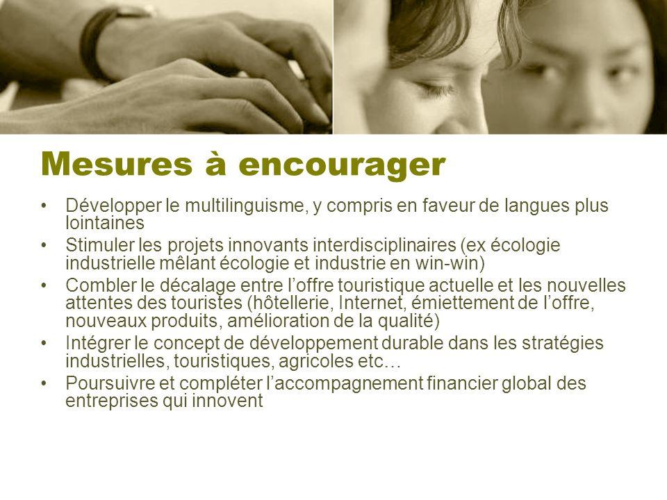 Mesures à encourager Développer le multilinguisme, y compris en faveur de langues plus lointaines Stimuler les projets innovants interdisciplinaires (