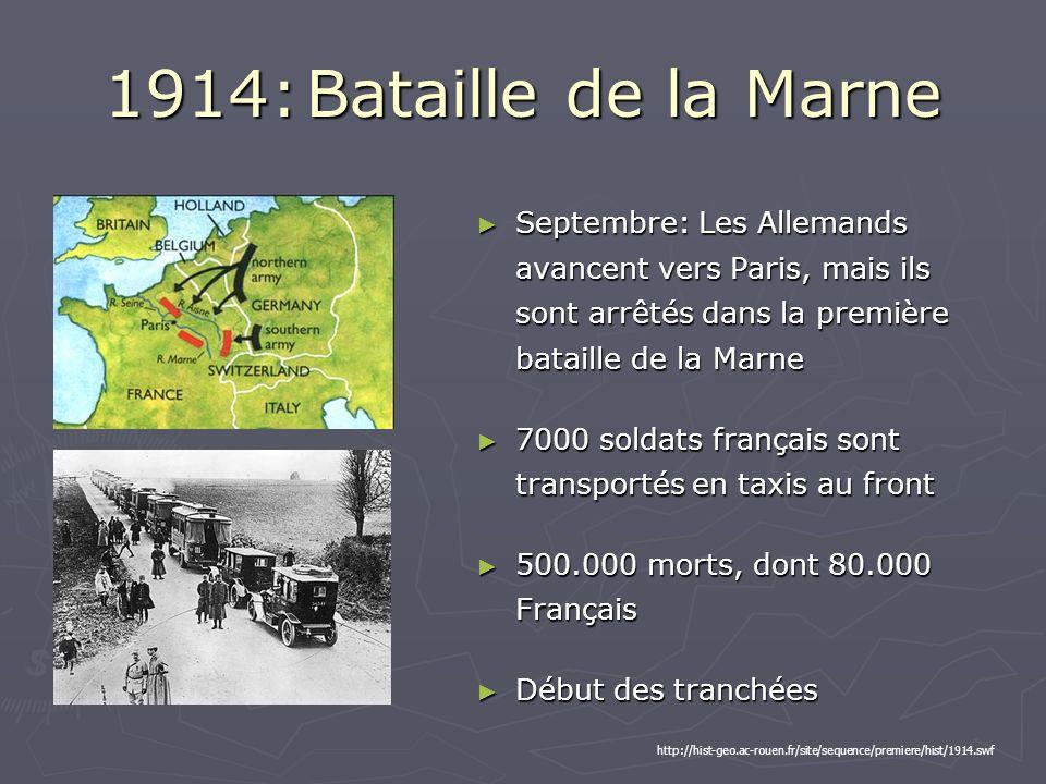 1914: Bataille de la Marne Septembre: Les Allemands avancent vers Paris, mais ils sont arrêtés dans la première bataille de la Marne Septembre: Les Allemands avancent vers Paris, mais ils sont arrêtés dans la première bataille de la Marne 7000 soldats français sont transportés en taxis au front 7000 soldats français sont transportés en taxis au front 500.000 morts, dont 80.000 Français 500.000 morts, dont 80.000 Français Début des tranchées Début des tranchées http://hist-geo.ac-rouen.fr/site/sequence/premiere/hist/1914.swf